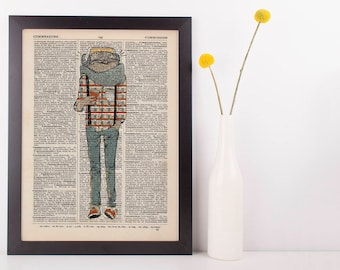 Owl in Scarf Dictionary Art Print Animals Anthropomorphic Clothes Dressed Hip