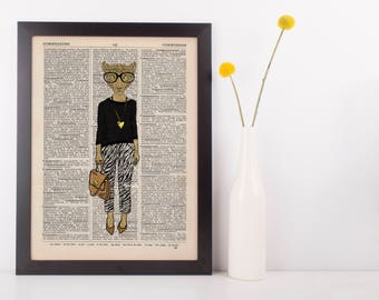 Leopard in Zebra Print Dictionary Wall Picture Art Print Vintage Animal Clothes