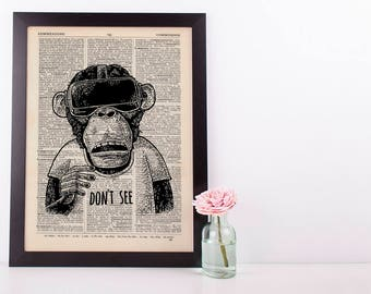 Don't See Monkey Dictionary Art Print Set Animals Clothes Anthropomorphic Human