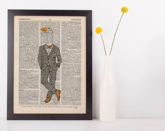 Goose in a suit Dictionary Art Print Wall Picture Vintage Animal in Clothes