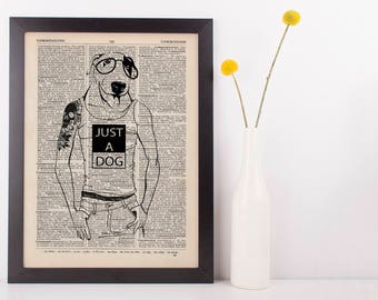 Pitman Bull Dictionary Art Print Animals Anthropomorphic Clothes Dressed Hip