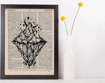 Moonlight Iceberg Dictionary Print