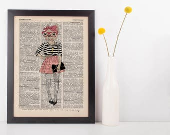 Pink bow Cat Dictionary Wall Picture Art Print Vintage Animal In Clothes