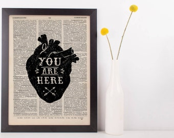You Are Here Anatomical Heart Quote Dictionary Print