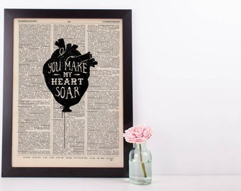 You Make My Heart Soar Balloon Dictionary Print