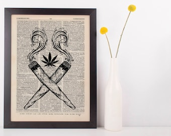 Indica Crossed Joints Dictionary Illustration Art Print Vintage Marijuana Weed