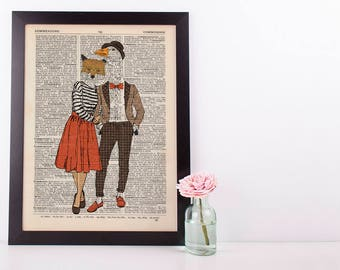 Fox and Goose Dictionary Wall Decor Art Print Vintage Animal In Clothes Mr & Mrs