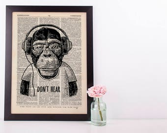 Don't Hear Monkey Dictionary Art Print Set Animals Clothes Anthropomorphic Human