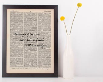 The Course of True Love, Dictionary Art Print William Shakspeare