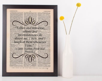 Follies and nonsense Dictionary Gift Art Print Jane Austen Pride & Prejudice