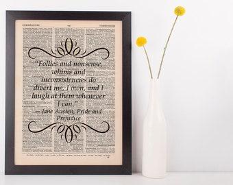 Follies and nonsense Dictionary Gift Art Print Jane Austen Pride & Prejudice
