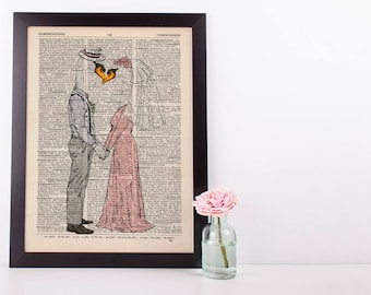 Swans Couple Wedding Dictionary Art Print Vintage Animal In Clothes Mr & Mrs