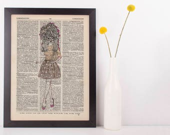 Lady Dog Dictionary Art Print Animals Clothes Anthropomorphic Clothes Dressed