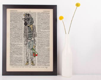 Zebra Boy Dictionary Wall Picture Art Print Vintage Animal In Clothes