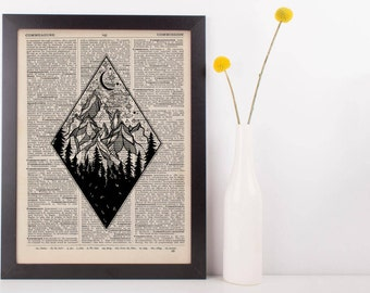 Diamond Moonlight Mountains Dictionary Print