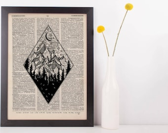 Diamond Moonlight Mountains Dictionary Print