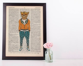Cheetah in Leopard  Dictionary Art Print Wall Vintage Picture Animal In Clothes