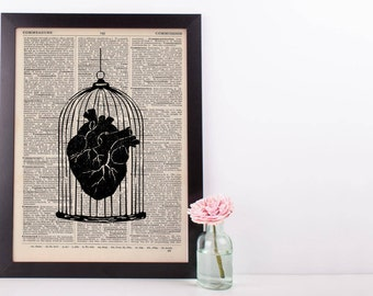 Caged Heart Anatomy Dictionary Print