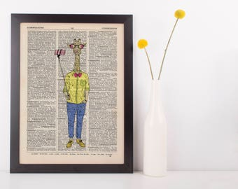 Selfie Giraffe Dictionary Wall Picture Art Print Vintage Animal In Clothes