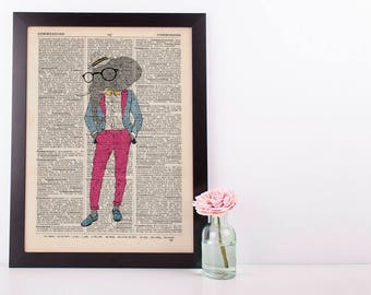 Elephant Gentleman Dictionary Art Print Wall Picture Vintage Animal in Clothes