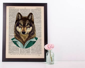 Wolf in a green suit Dictionary Art Print Animals Clothes Anthropomorphic