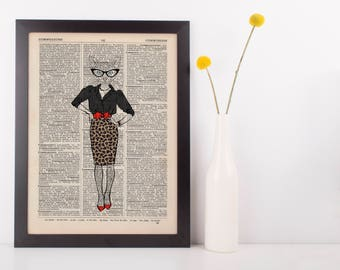 Rockabilly Cat Dictionary Wall Picture Art Print Vintage Animal In Clothes