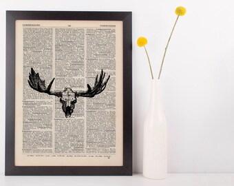 Moose Skull Dictionary Illustration Art Print Vintage Hipster Antique