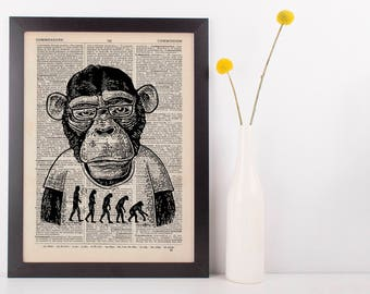 Monkey Evolution Dictionary Art Print Animals Clothes Anthropomorphic Darwin