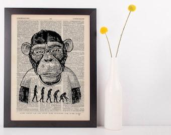 Monkey Evolution Dictionary Art Print Animals Clothes Anthropomorphic Darwin