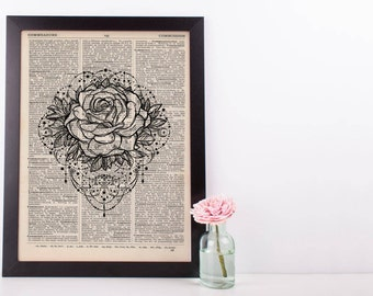 Rose Tattoo Mandala Dictionary Print