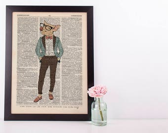 Dandy Pig Dictionary Art Print Wall Vintage Picture Animal in Clothes