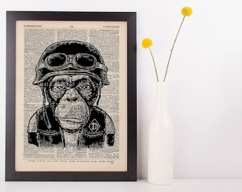 Motorbike Monkey Dictionary Art Print Animals Clothes Anthropomorphic Biker Fun