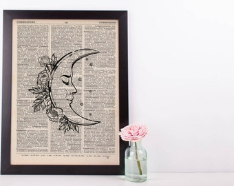 Moon and Flowers Dictionary Print