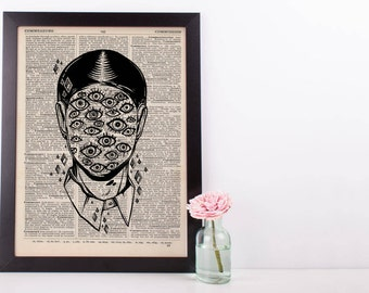 Surreal Eyes Face Dictionary Print