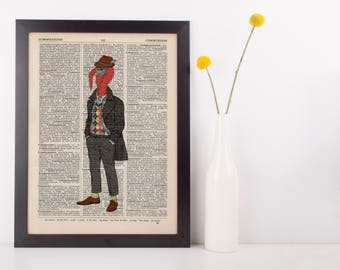 Turkey Gent Dictionary Wall Picture Art Print Vintage Animal In Clothes