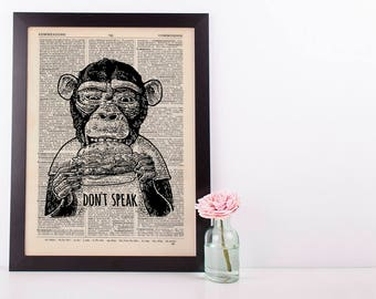 Don't Speak Monkey Dictionary Art Print Set Animals Clothes Anthropomorphic Human
