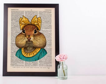 Chipmunk with a bow Dictionary Art Print Animals Clothes Anthropomorphic