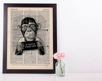 Criminal monkey Dictionary Art Print Set Animals Clothes Anthropomorphic Human