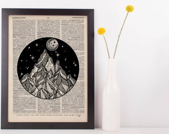 Moon and Mountain Circle Dictionary Print