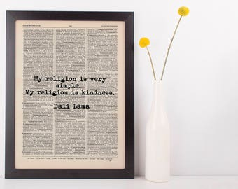 My Religion Is Kindness Dalai Lama Dictionary Art Print Inspire Motivational