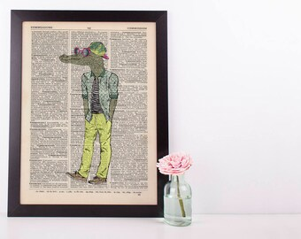 Cool Crocodile Dictionary Art Print Wall Vintage Picture Animal In Clothes
