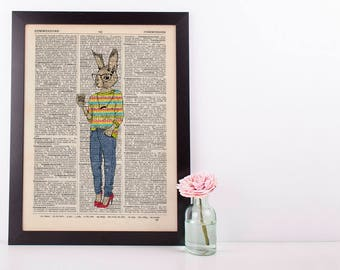 Coffee Squirrel Dictionary Art Print Wall Vintage Picture Animal In Clothes