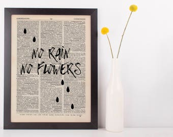 No Rain No Flowers Dictionary Art Print, Vintage Inspirational Quote