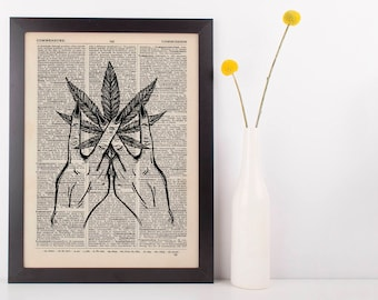 Indica Marijuana Peace signs Dictionary Illustration Art Print Vintage Weed