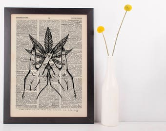 Indica Marijuana Peace signs Dictionary Illustration Art Print Vintage Weed