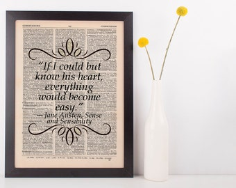 If I could but know his heart Dictionary Art Print Jane Austen Sense & Sensibility