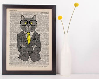 Cat with Yellow Tie Dictionary Art Print Wall Vintage Picture Animal In Clothes