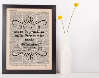 Hearts will never be practical Dictionary Art Print Frank L Baum Wizard of Oz