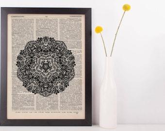 Fancy Flower Mandala Dictionary Print