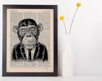 Monkey Business Dictionary Art Print Animals Clothes Anthropomorphic Human